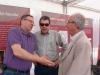 Animada conversa entre Joan Andrés Sorribes, Vicent Pallarés i Joan Pla