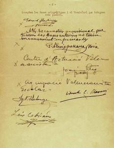 Signatures de les Normes de Castelló, 1932