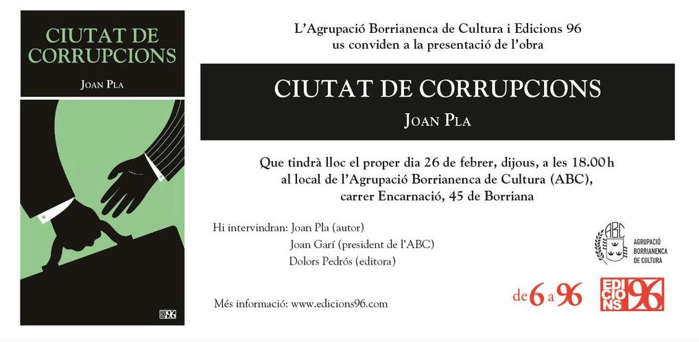 Ciutat de corrupcions, de Joan Pla