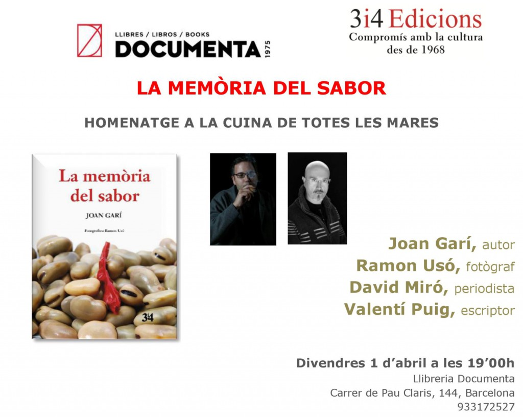 Invitació presentació Barcelona La memòria del sabor