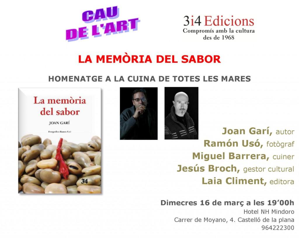 Tarja presentació Castelló La memòria del sabor